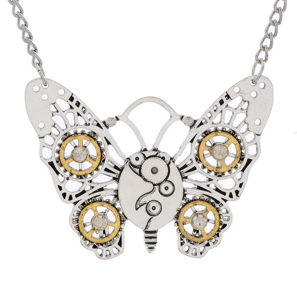 Butterfly and Owl Steampunk Necklace