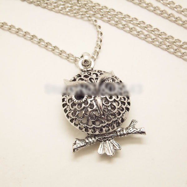 Antique Silver Hollow Cute Owl Necklace