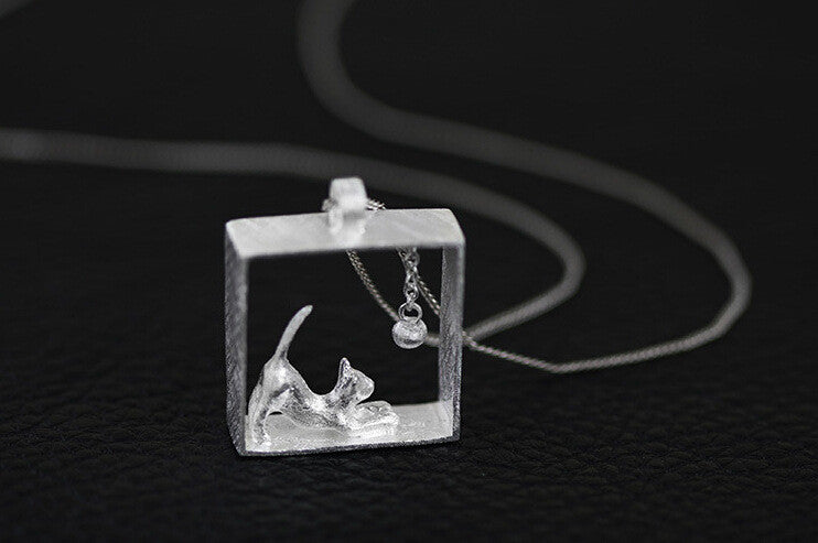 925 Sterling Silver Necklaces Rectangle Cat Pendants