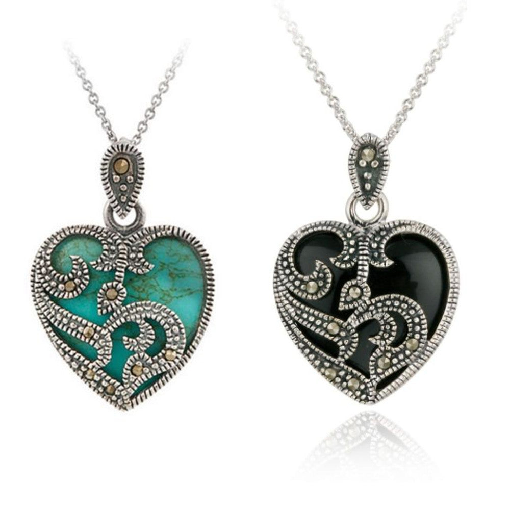 Blue Turquoise Heart Pendant Necklace