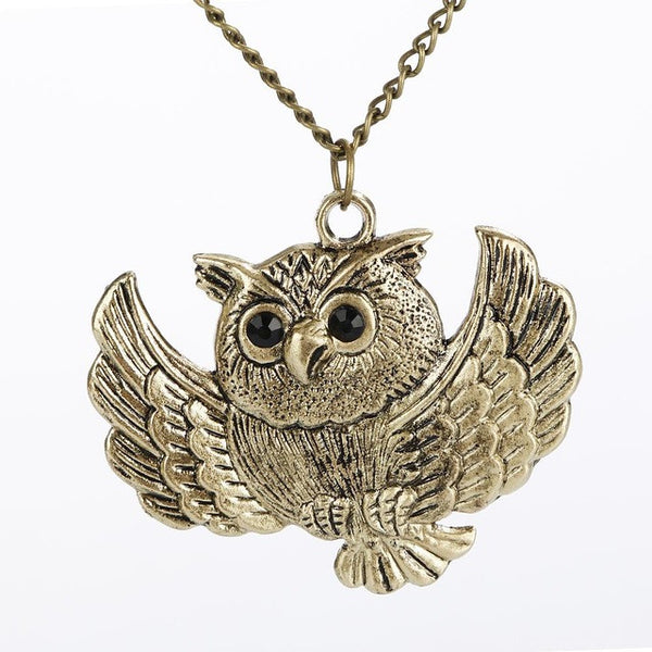 Vintage Charm Long Chain Statement Owl Necklace