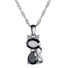 Sterling Silver Black Cat Pendant Necklace
