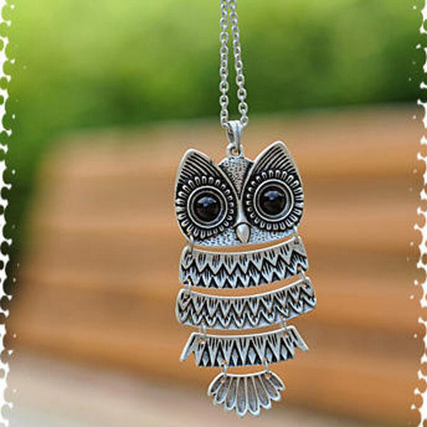 Ancient Long Sweater Chain Owl Necklace