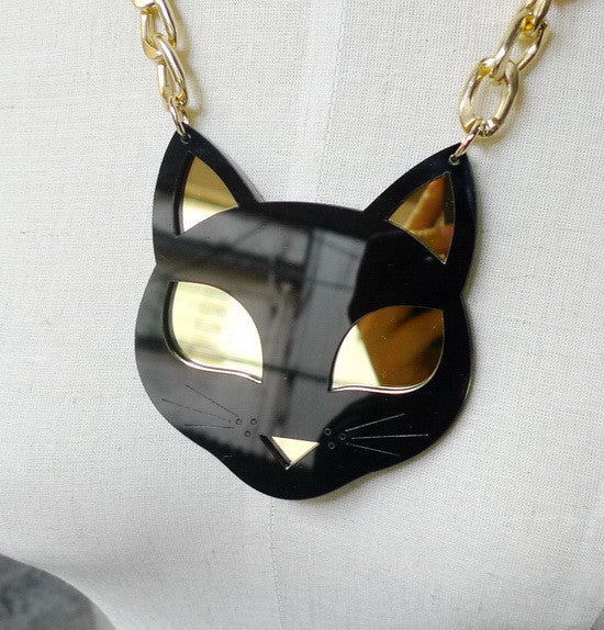 Black Cat Acrylic Necklace