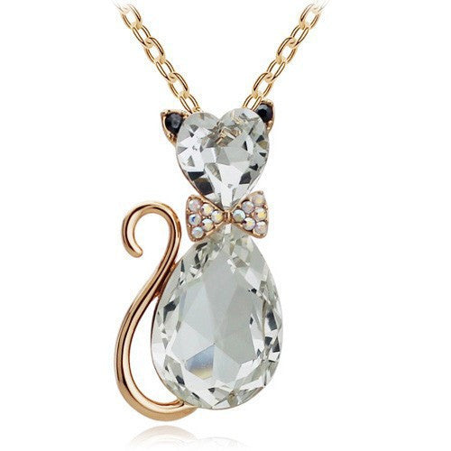 Rhinestone Crystal Cute Lovely Cat Necklaces Pendants
