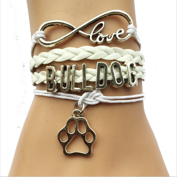 Drop Shipping White Color Infinity Love Bulldog Bracelet
