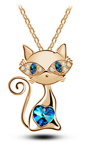 18K Gold Plated or Sterling Silver Crystal Kitty Pendant Necklace