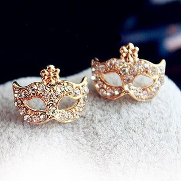 Rhinestones Magic Mask Stud Earrings