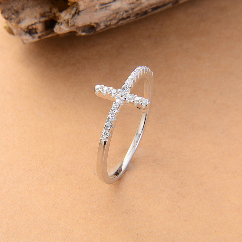 Sideways Cross Crystal Vintage Ring