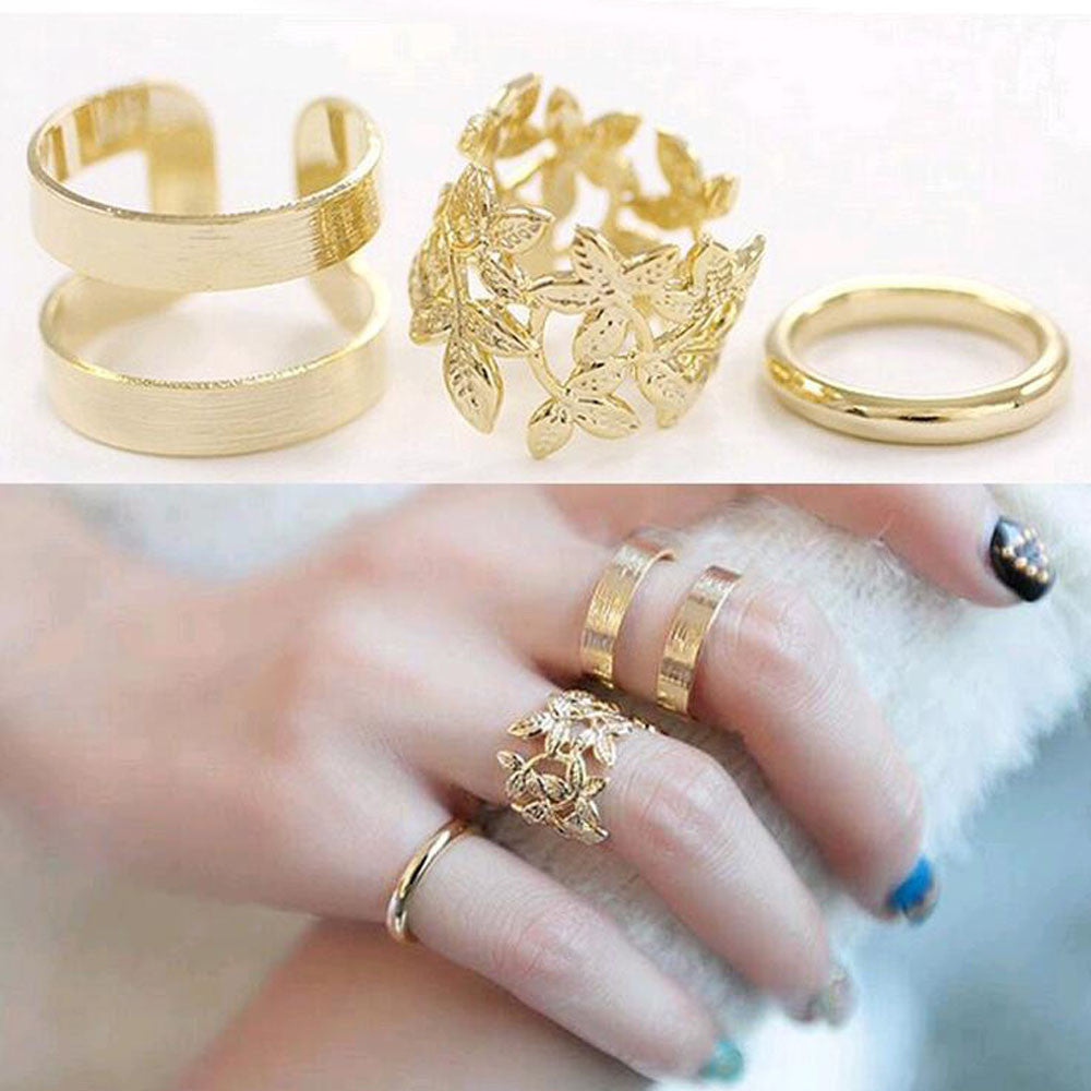 Vintage Punk Style Leaf Set Ring
