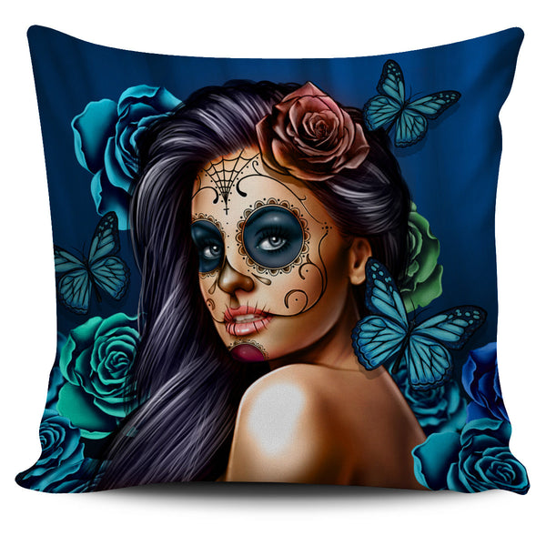 Blue Calavera Pillow Covers - amaze-mee store