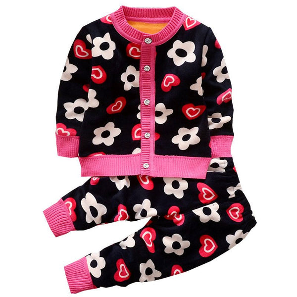 Floral/Car Knitted Sweater Set - amaze-mee store