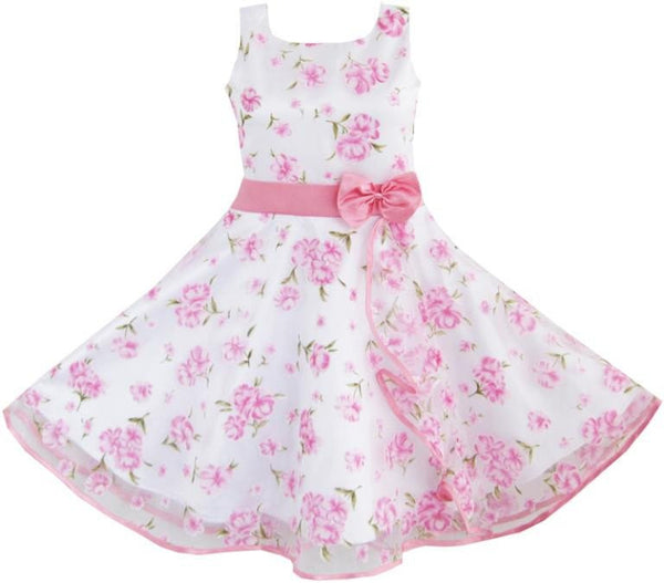 Flower Wave Pink Dress - amaze-mee store