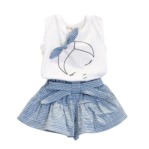 Gingham Bow Girls Outfit - amaze-mee store
