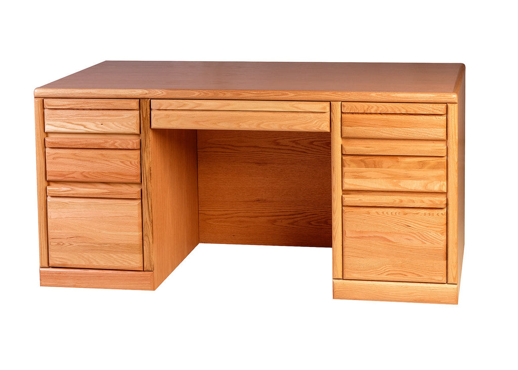 Forest Designs Bullnose Oak Executive Double Pedestal Desk: 60W x 30H x 28D