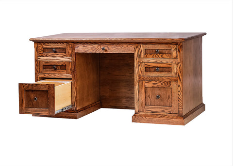 Forest Designs Mission Executive Double Pedestal Desk: 60W X 30H X 28D (Black Knobs)