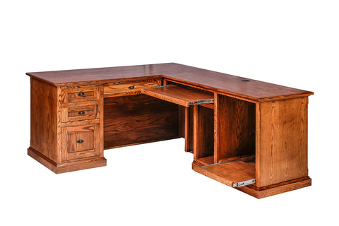 Forest Designs Mission Oak Executive Double Pedestal Desk: 72W x 30H x 28D