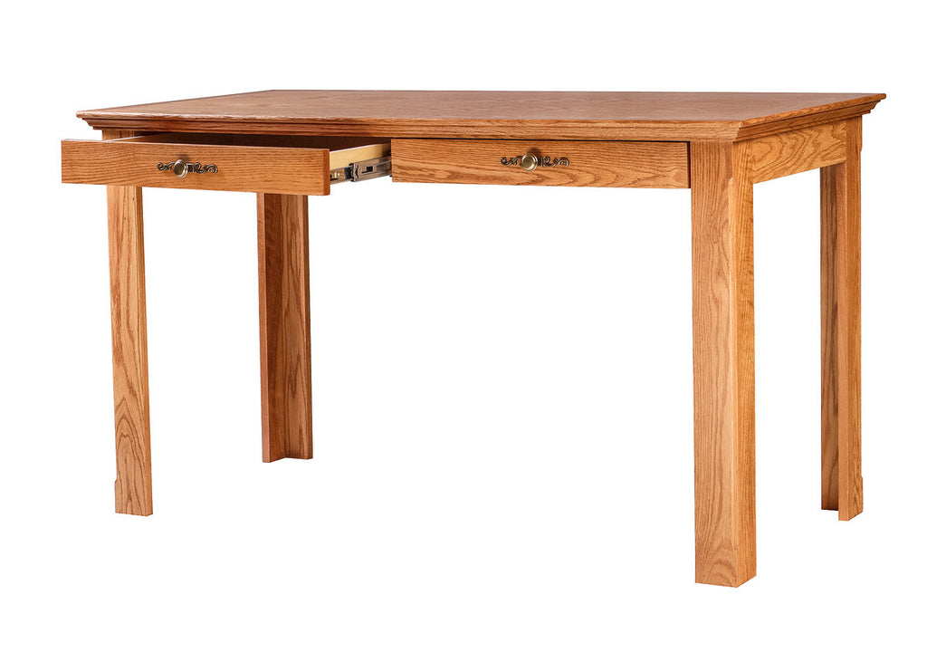Forest Designs Traditional Oak Writing Table w/Drawers: 54W x 30H x 24D