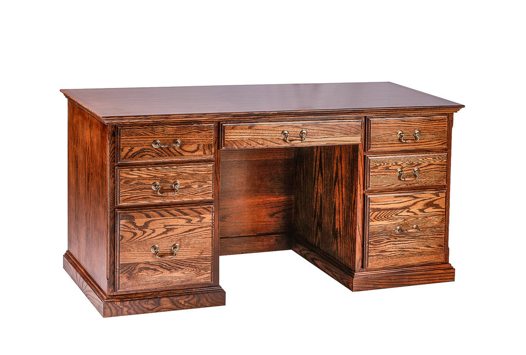 Forest Designs Traditional Oak Writing Desk: 60W x 30H x 24D with Double Pedestal