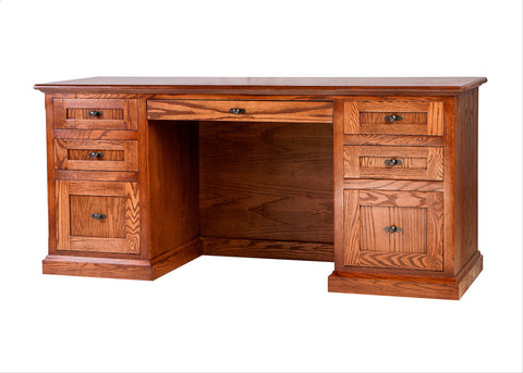 Forest Designs Mission Oak Writing Desk: 66W x 30H x 24D with Double Pedestal