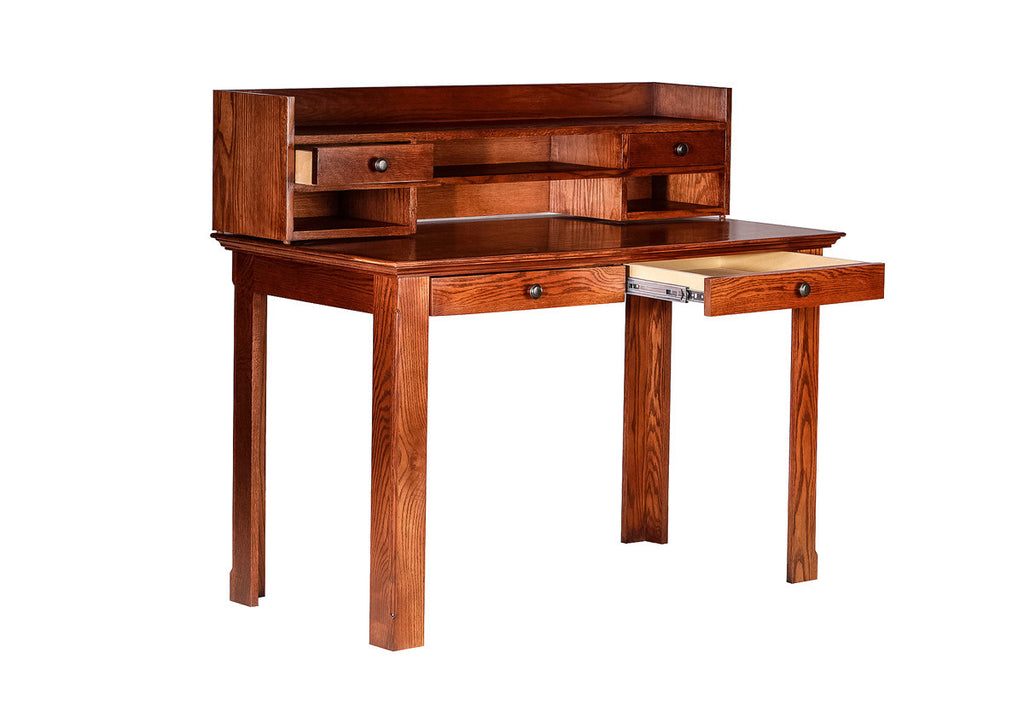 Forest Designs Traditional Writing Table w/ Drawers & Hutch: 48W X 42H X 24D (Black Knobs)