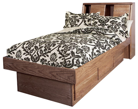 Forest Designs Bullnose Twin Platform Bed with Bookcase Headboard