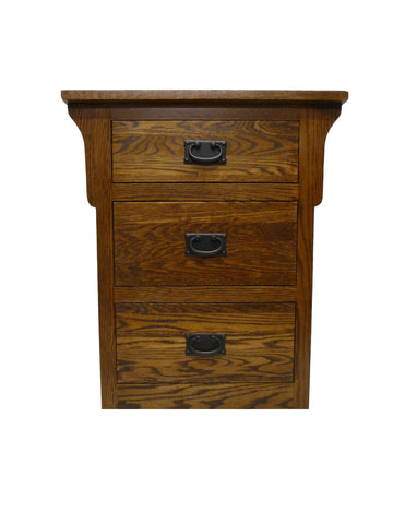 Forest Designs Arts & Crafts Oak Three Drawer Nightstand: 25W x 30H x 18D