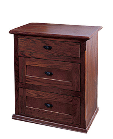 Forest Designs Mission Oak Three Drawer Nightstand: 25W x 30H x 18D