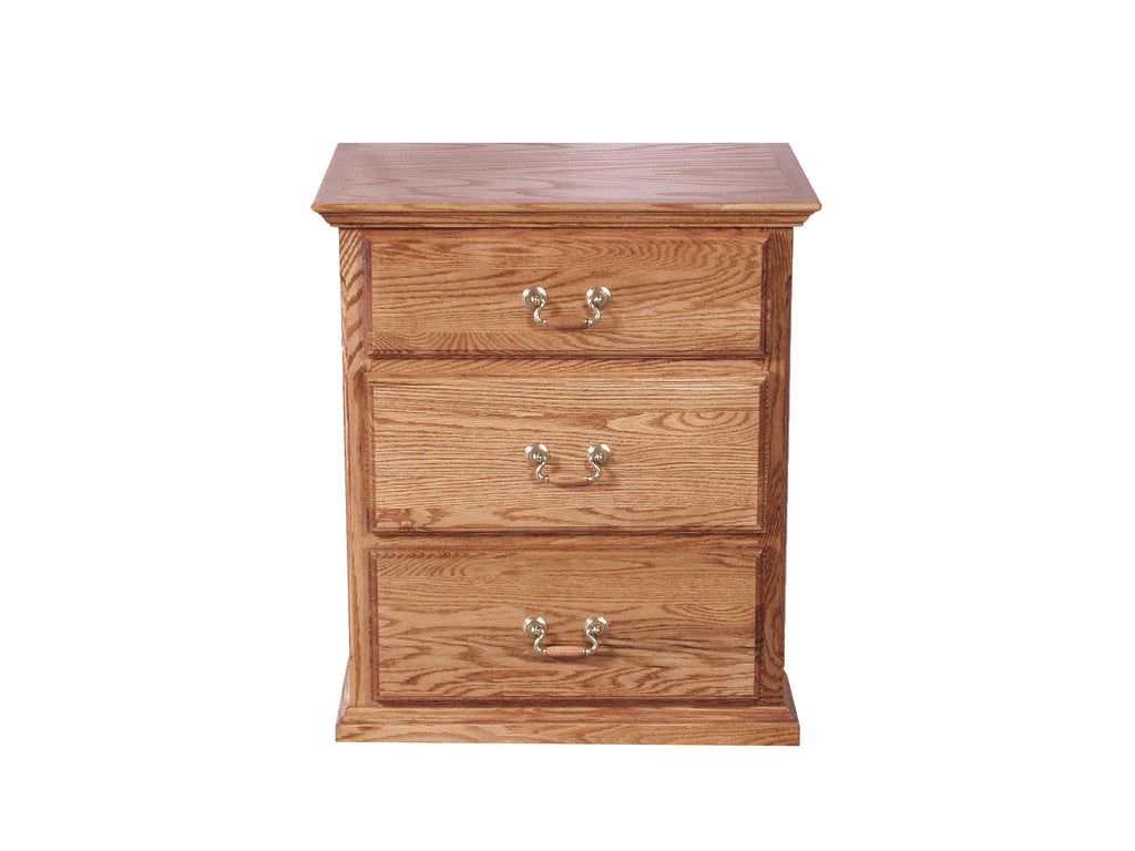 Forest Designs Traditional Oak Three Drawer Nightstand: 25W x 30H x 18D