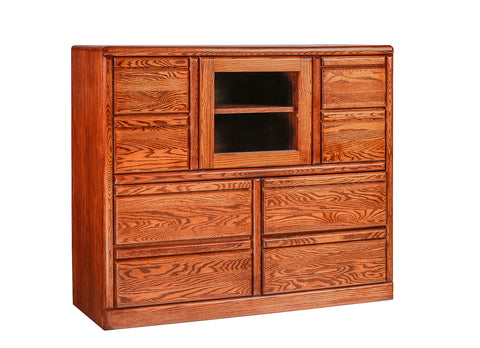 Forest Designs Bullnose Dresser w/ Beveled Glass Door: 48W X 41H X 18D