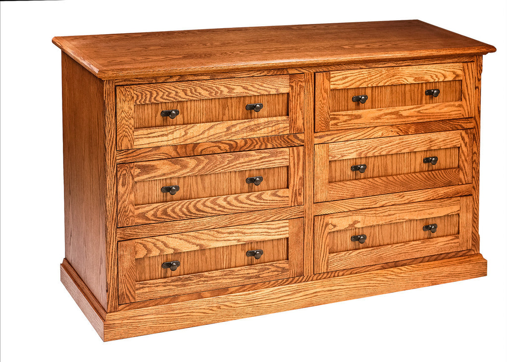 Forest Designs Mission Oak Six Drawer Dresser: 60W x 32H x 18D