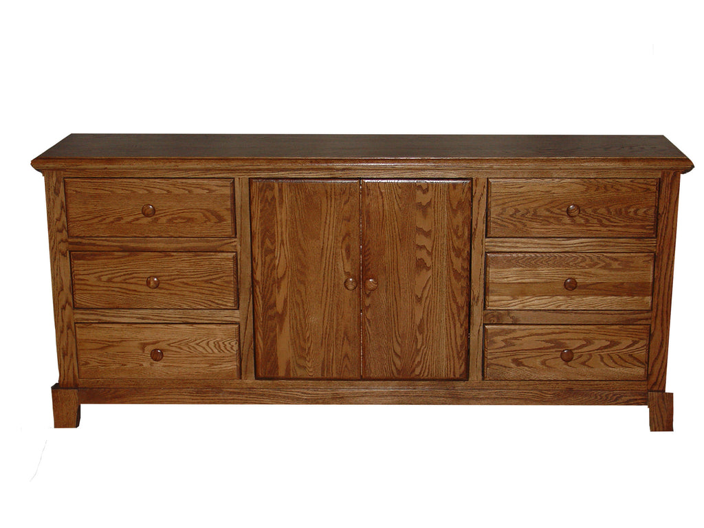 Forest Designs Shaker Nine Drawer Dresser: 72W x 32H x 18D - Three Hidden Drawers