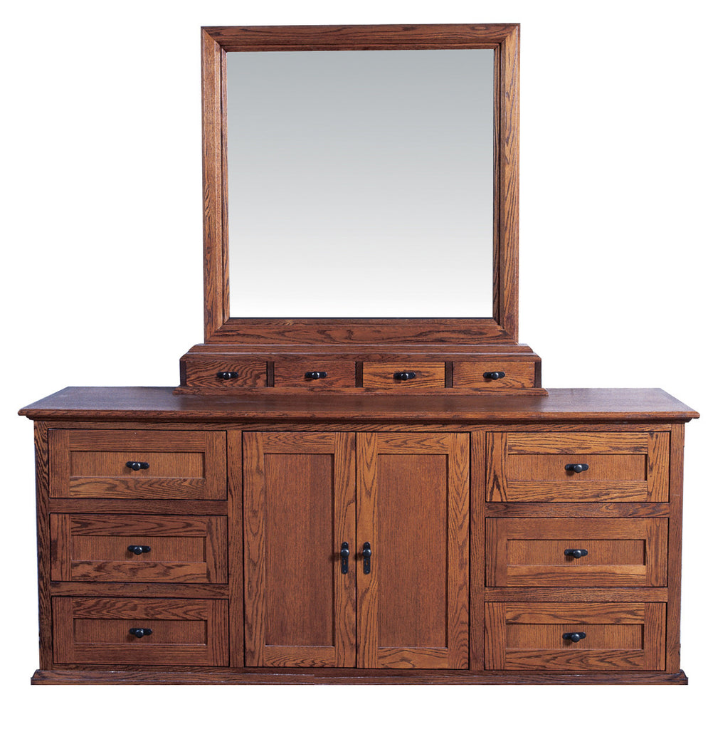Forest Designs Mission Nine Drawer Dresser & Plain Mirror: 72W X 43H X 18D