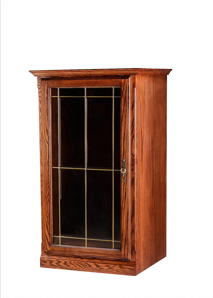 Forest Designs Traditional Oak Audio Tower with V-Groove Glass Door: 25W x 45H x 21D