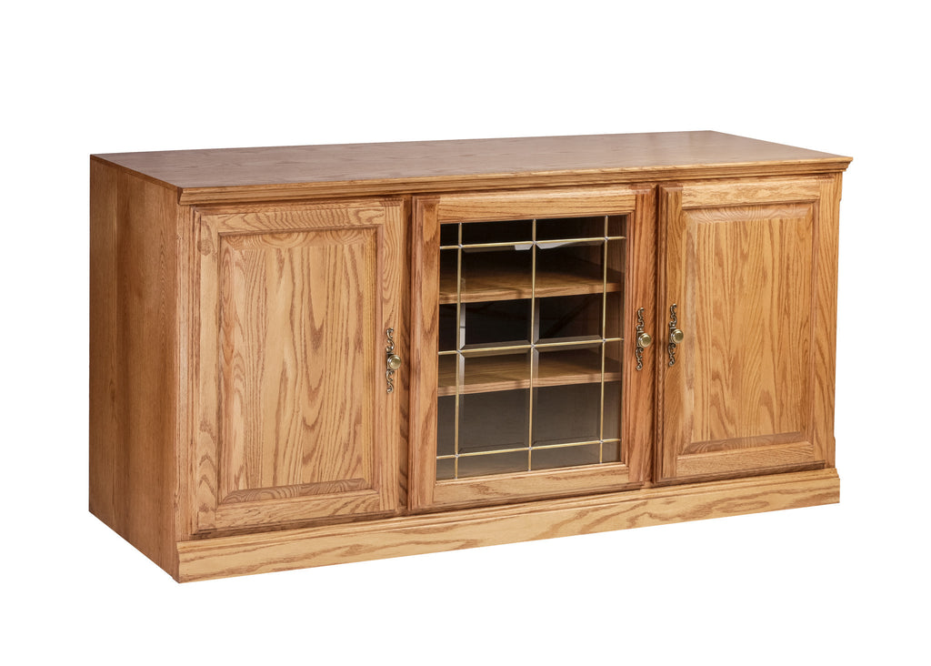 Forest Designs Traditional Oak TV Cart with Media Storage: 56W x 30H x 21D