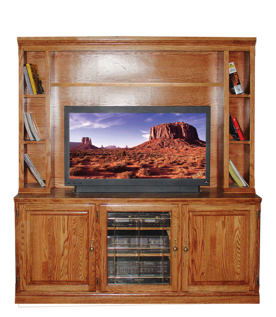 Forest Designs 67w Traditional Oak TV Stand with Media Storage: 67W x 30H x 21D (No Hutch)