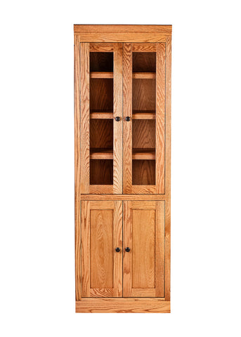 Forest Designs Mission Bookcase w/ Full Glass Doors: 24W X 72H X 18D