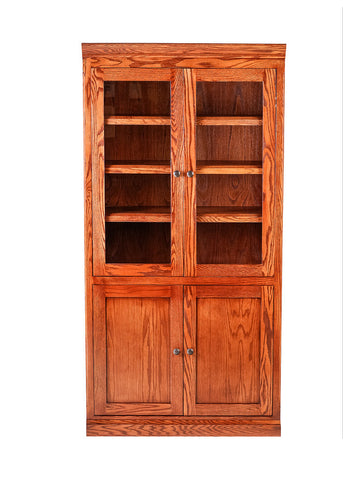 Forest Designs Mission Bookcase w/ Full Glass Doors: 36W X 72H X 18D (Black Knobs)