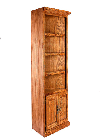 Forest Designs Traditional Oak Corner Bookcase: 27 x 27 from Corner 72H w/ 30H Lower Doors