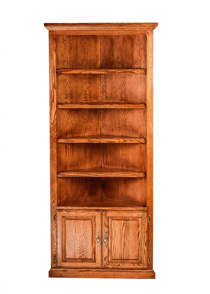 Forest Designs Traditional Oak Corner Bookcase: 27 x 27 from Corner 84H w/ 30H Lower Doors