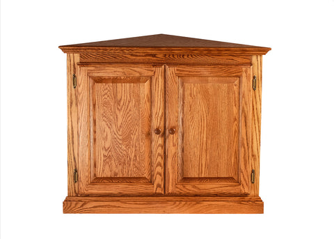 Forest Designs Traditional Corner Bookcase w/ Full Doors: 27 X 27 from Corner 30H (Wood Knobs)