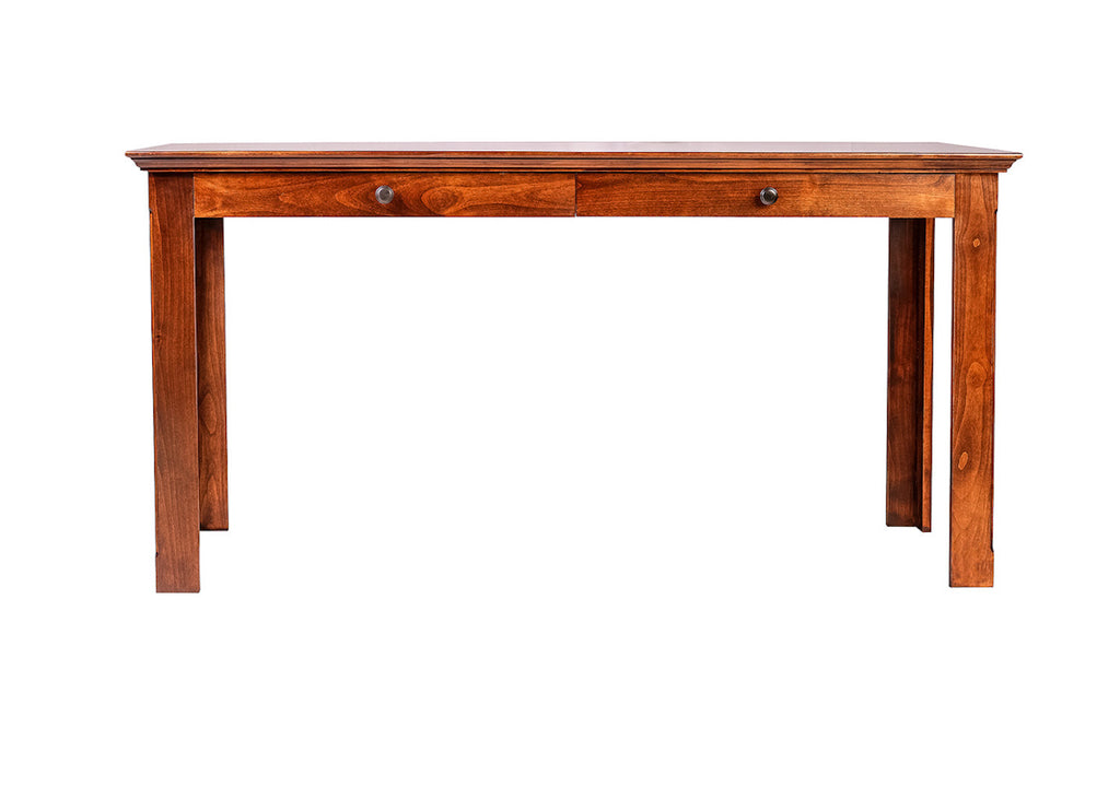 Forest Designs Traditional Alder Writing Table w/ Drawers: 60W X 30H X 24D (Mission Knobs)