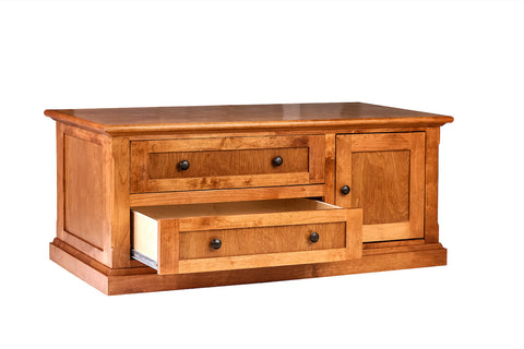 Forest Designs Mission Alder Cocktail Table w/ Raised Panel Sides: 48W X 20H X 24D (Black Knobs)