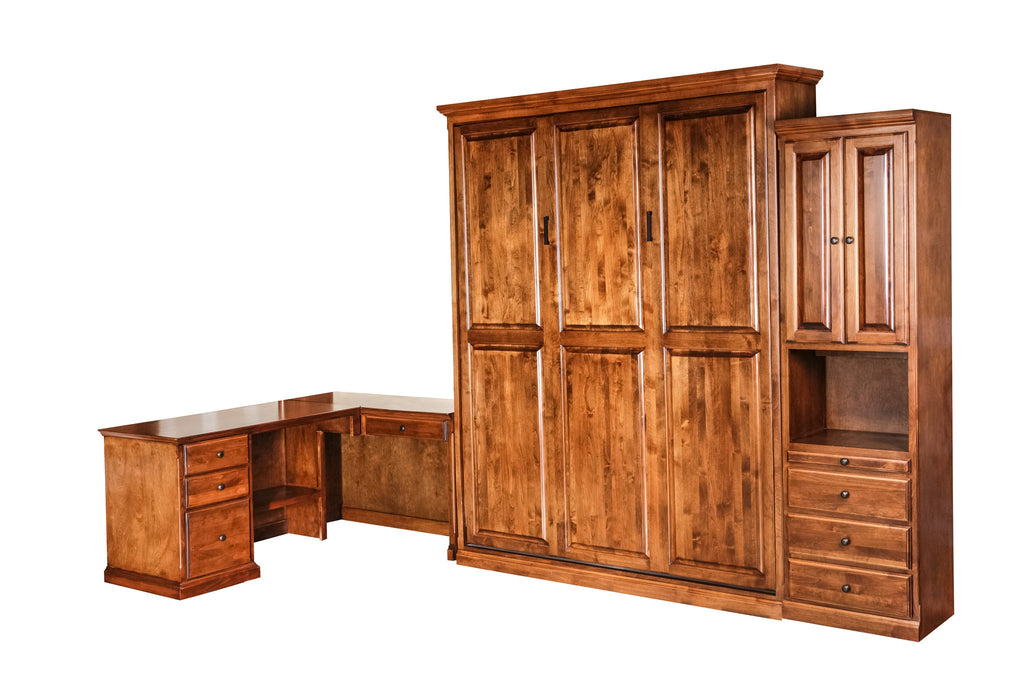 Forest Designs Traditional Alder Open Queen Murphy Bed, Pier & Desk: 142W X 92H X 24D