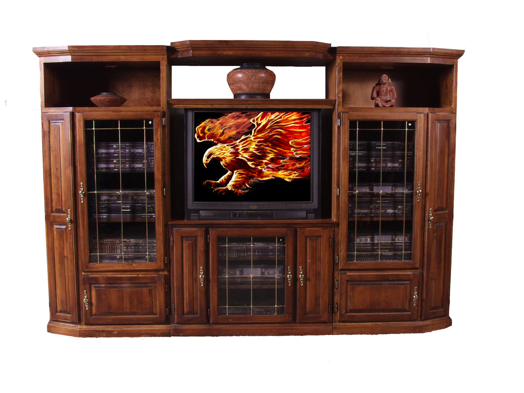 Forest Designs Traditional Alder Three Piece Wall & TV Stand & Adjustable Shelf