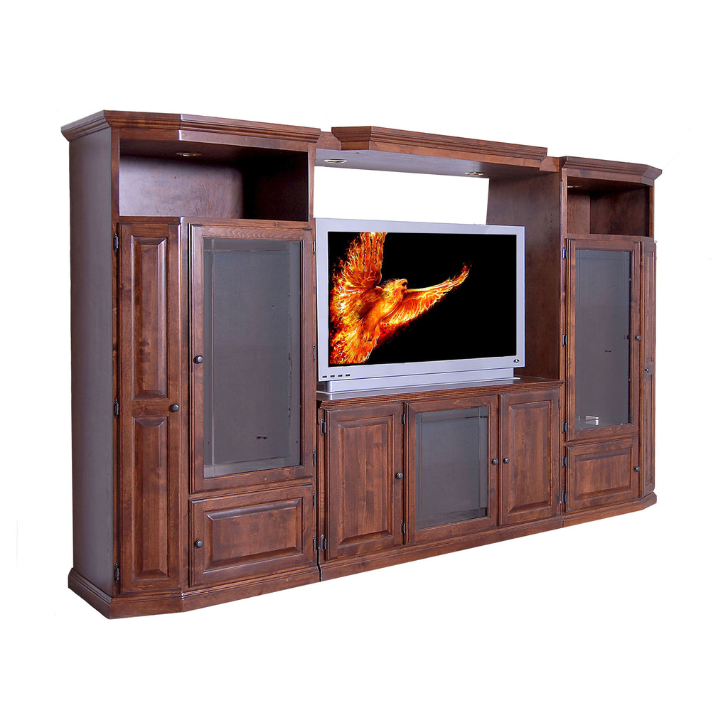 Forest Designs Traditional Three Piece Wall & TV Stand & Adjustable Shelf in Auburn