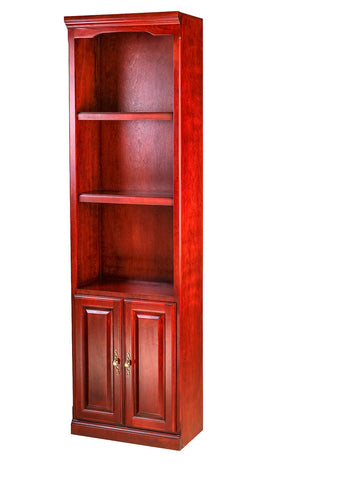Forest Designs Traditional Alder Bookcase: 24W x 84H x 13D w/ 30H Lower Doors