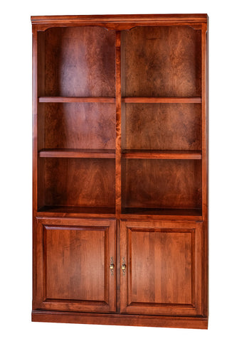Forest Designs Traditional Alder Bookcase: 48W x 48H x 13D w/ 30H Lower Doors