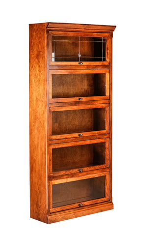 Forest Designs Mission Alder Lawyer Bookcase: 36W X 79H X 13D ( Five Doors)