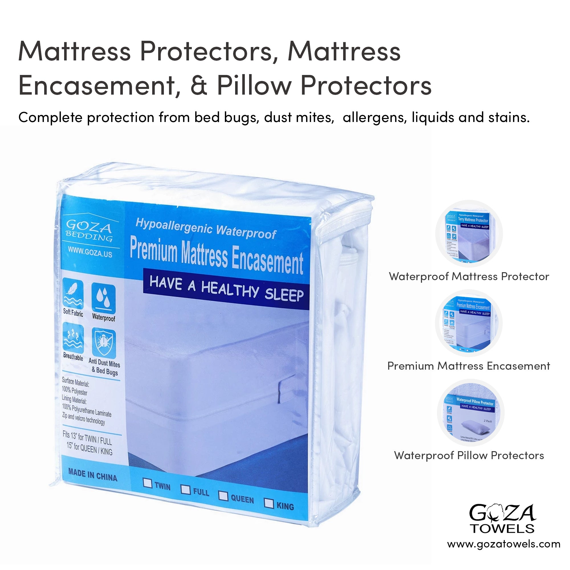 Premium Hypoallergenic Waterproof Mattress Protector - by Goza Bedding